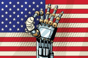 Robot OK gesture, the US flag. Broken bandaged finger